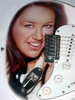 Miley Cyrus Signed Incredible Airbrush Guitar & Proof PSA/DNA UACC RD