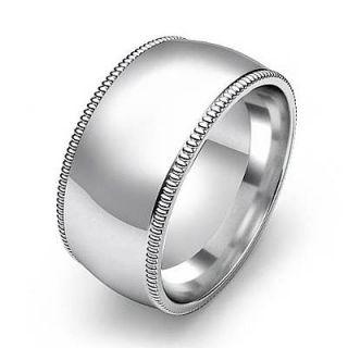 13g 9Z Mens Wedding Band Ring Dome Milgrain 10mm 14k White Gold Solid