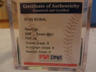 STAN MUSIAL SIGNED AUTOGRAPHED OFFICIAL MAJOR LEAGUE BASEBALL   PSA