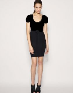 Karen Millen Black Knit New Bodycon Logo Dress Size 6 8 Black