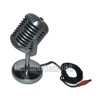 Retro Microphone Mic Desktop Stand PC Laptop 3 5mm