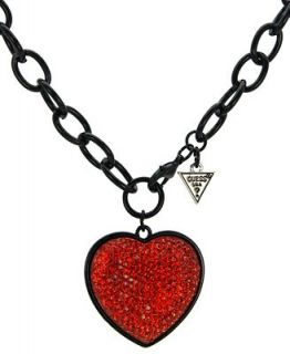 GUESS Necklace, Red Crystal Heart Toggle Necklace