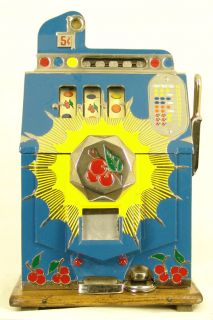 Restored 1935 Mills Bursting Cherry 5c Antique Slot Machine