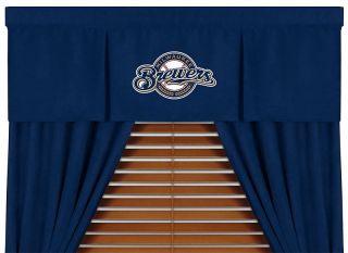MLB Milwaukee Brewers Window Drapes Valance Curtain Set