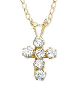 Childrens 14k Gold Cubic Zirconia Cross Pendant   Kids Jewelry