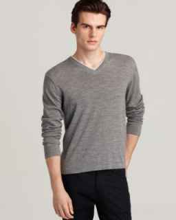 Michael Kors New Gray Merino Wool Long Sleeves V Neck Pullover Sweater