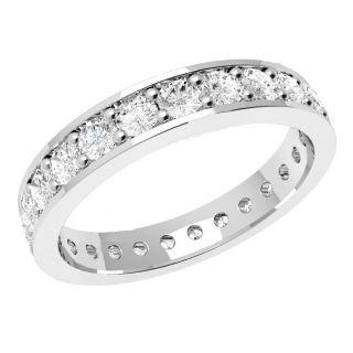 VVS 0.75Ct Round Diamond Claw Set Full Eternity Ring , 18K White Gold