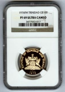 1976 FM Gold Trinidad Tobago $100 Birds Coin NGC Proof 69 Ultra Cameo