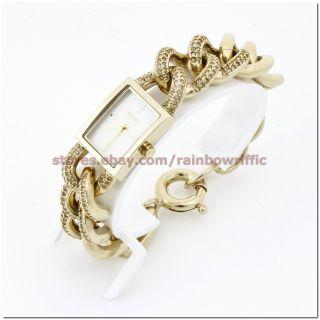 DKNY Gold Stainless Steel Case Glitz Bracelet Chain Watch NY8388 NWT