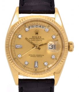 Mens Rolex President DayDate 18k Solid Yellow Gold Diamond Dial Watch