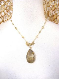 Dabby Reid Gorgeous Smokey Quartz Gem Gold Chain Necklace