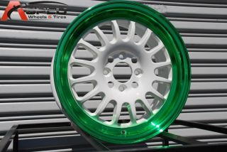 Rota Track R 15x7 4x100 ET40 White Green Rims Wheels