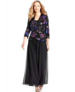Alex Evenings Magical Sparkle Shell, Jacket & Wide Leg Pants   Womens