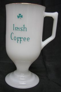 Vintage Milk Glass Clover Irish Coffee Pedestal Mug