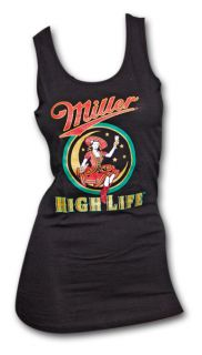 Miller High Life Girl in The Moon Black Womens Graphic Tank Top