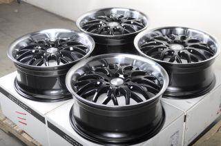17 4x114 3 4x100 Black 4 Lug Wheels Integra Forenza Accord Civic