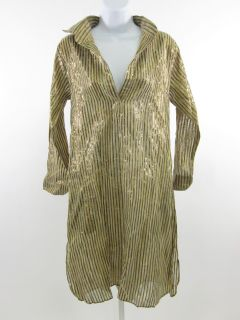 Flats Metallic Gold Stripe Long Sleeve Shirt Dress Sz L