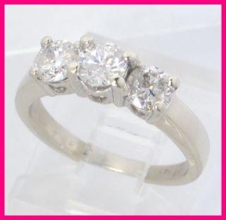 14k White Gold 3 Stone Past Present Future Round Diamond Ring 1 04Ct