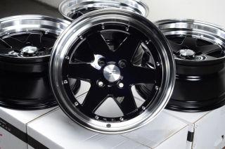 15 4x100 Matte Black Rims Scion XA XB Low Offset Miata G3 Cooper 4 Lug