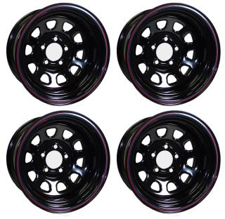 New 15 x 10 Allied Racing Wheel Set Black 5 x 4 75 4BS