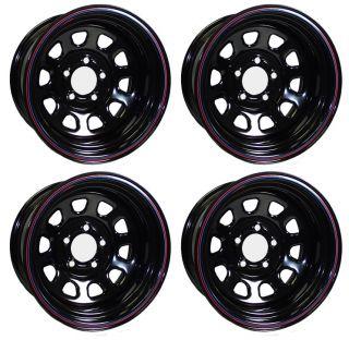 New 15 x 10 Allied Racing Wheel Set Black 5 x 4 75 4BS