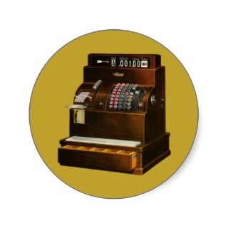 Old Fashioned Cash Register Stickers