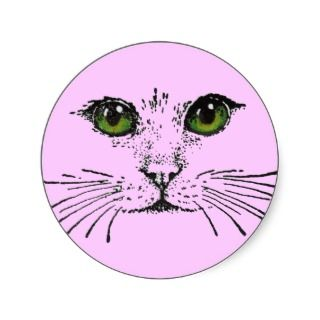 Green Eyed Cat Face Stickers