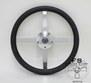 Lakester 4 Spoke 14 Black Vinyl Halfwrap Billet Steering Wheel