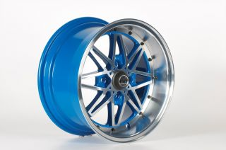 15 OG Axis Old Skool Style Blue Wheels Rims Fit Honda Civic DX EX