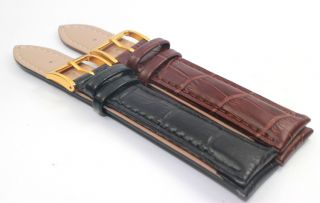 19MM|20MM Brown Black Genuine Leather Gold Buckle Watch Band Strap