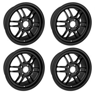 DR21 Flat Black 15 Rims 4 Lugs 4x100 40 Offset Wheels