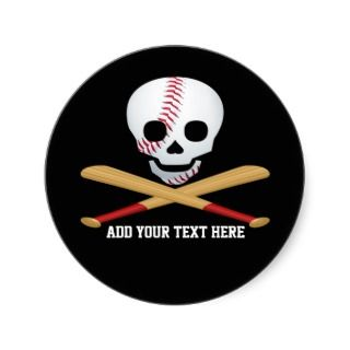 Skull and Cross Bones Baseball Style Stickers