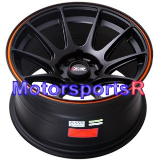 Black Orange Stripe Concave Rims Wheels Stance 84 86 91 BMW E30