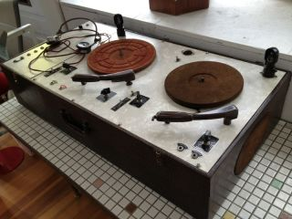 1940s 1950s Vintage Suitcase Double Record Player Turntable Portable