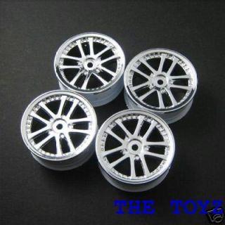 Chrome 1 10 Sedan Wheels Rim 24mm Tamiya RC18T TC4 by 3Racing WH 02 SI