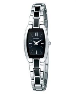 Pulsar Watch, Womens Black Enamel and Stainless Steel Bracelet PEGF25