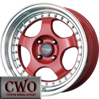 15 Red Drag Dr 46 Wheels Rims 4x100 4 Lug Civic Mini Miata G5 Cobalt