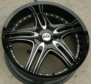 Bigg Assett 516 22 Black Rims Wheels Ford Fusion Flex Mustang 22 x 8