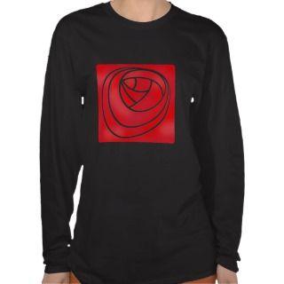 Stencil Style Art Nouveau Rose Tee Shirt