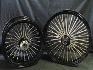 21x3 18x4 25 DNA 52 Fat Spoke Black Fat Daddy Wheels 4 Harley Softail