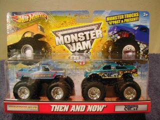 HOT WHEELS MONSTER JAM THEN AND NOW VIRGINIA GIANT 2 TRUCK SET MUST