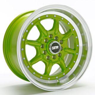 15X8 STR 504 4X100 +10 GREEN WHEEL FIT SCION XB MIATA MINI COOPER BMW