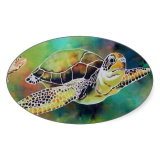 Green Sea Turtle Aquarium Support Sticker