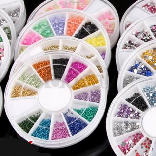 20 Wheels Mixed Nail Art DIY Fimo Glitter Rhinestone