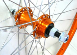 27 x 1 1/4 Free Wheel Single Speed Bike Bicycle ORANGE Front & Rear