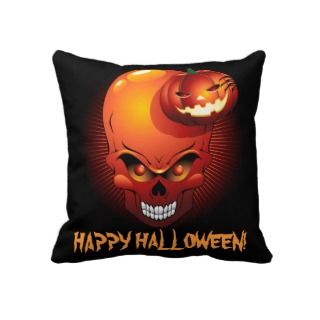Halloween Skull and Pumpkin American MoJo Pillows
