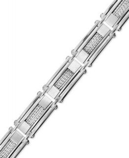 Mens Stainless Steel and Sterling Silver Bracelet, Mesh Inlay