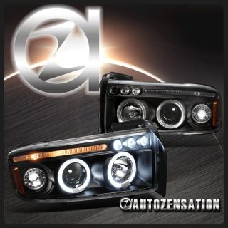 94 01 Dodge RAM Truck Black LED DRL Halo Projector Headlights