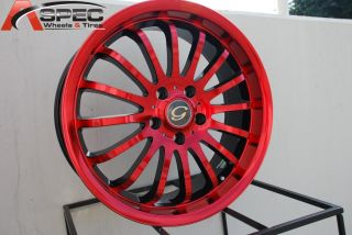 18X7 G LINE G601 WHEEL 5X110 +40 RED BLACK RIM FITS MALIBU PONTIAC G5