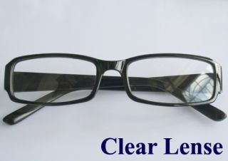 Full Rims Plastic Frame Clear Lens Plain Glasses Black for Men Women